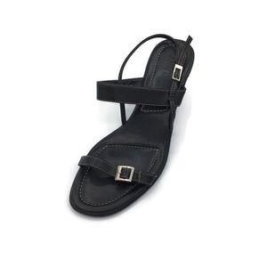 Ann Taylor Black Leather Ankle Strap Sandals Sz 7M